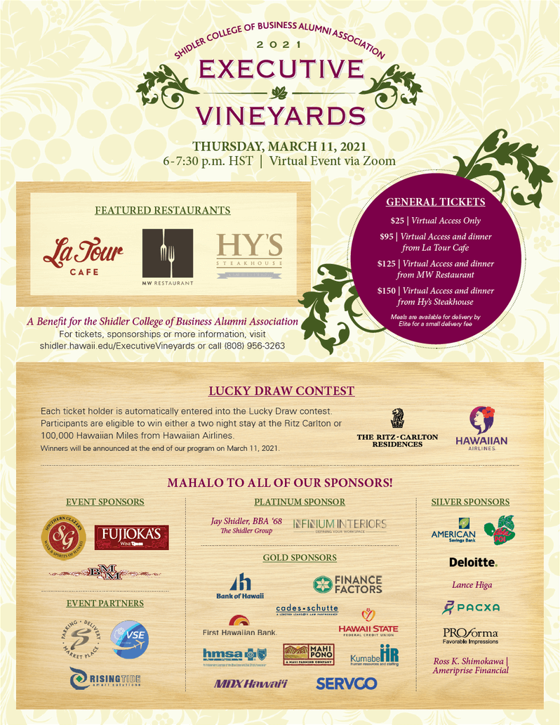 Screenshot of the Executive Vineyards Flyer