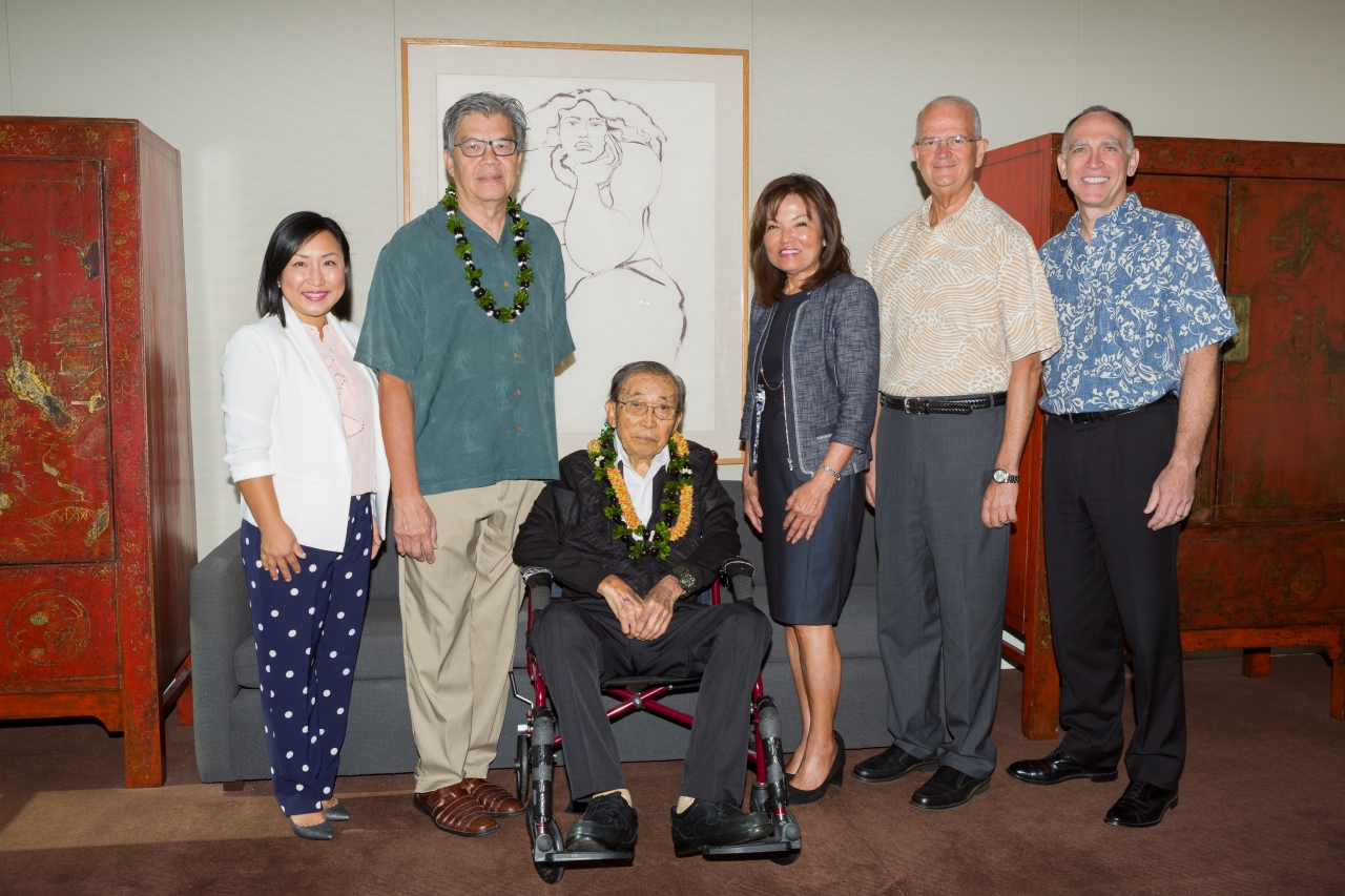 Left to right:  Unyong Nakata, executive director of development, Shidler; Tony Ching, trustee and brother to Blanche Hee; Mr. Clifford Hee,  Sharon Brown, president, FHB Foundation; Vance Roley, dean, Shidler; Bob Harrison, president & CEO, FHB.