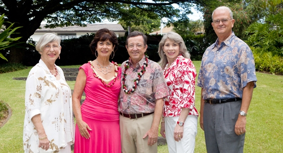 (left to right) Lani Starkey, Chancellor Dykstra, Unyong Nakata, Claire Durham, Donna Vuchinich, Vance Roley, KC Collins
